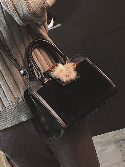 Pompon Suede Panel Handbag - BLACK  Mobile