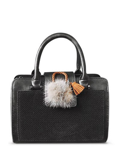 Pompon Suede Panel Handbag - GRAY  Mobile