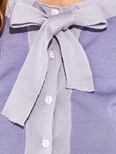 Bowknot Button Up Cardigan - PURPLE ONE SIZE Mobile