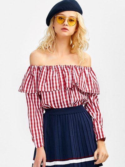 Gingham Check Off The Shoulder Blouse - RED XL Mobile