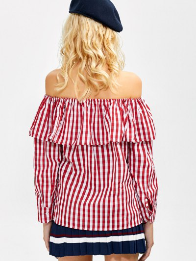Gingham Check Off The Shoulder Blouse - RED L Mobile