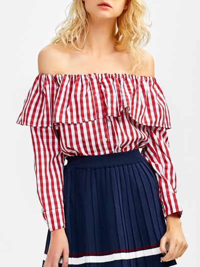 Gingham Check Off The Shoulder Blouse - RED M Mobile