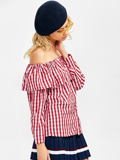 Gingham Check Off The Shoulder Blouse - RED S Mobile