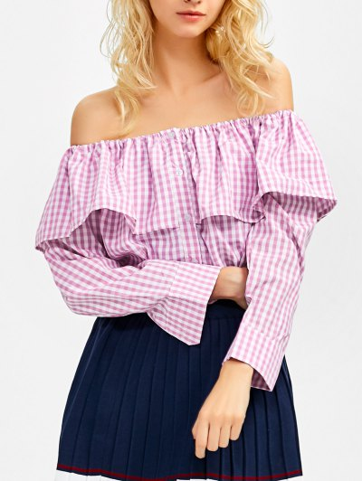 Gingham Check Off The Shoulder Blouse - PINK XL Mobile