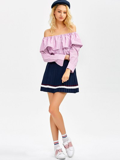 Gingham Check Off The Shoulder Blouse - PINK M Mobile