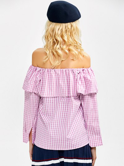 Gingham Check Off The Shoulder Blouse - PINK S Mobile