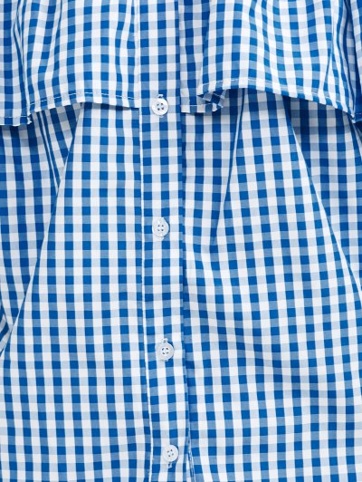 Gingham Check Off The Shoulder Blouse - BLUE L Mobile