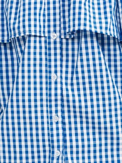 Gingham Check Off The Shoulder Blouse - BLUE M Mobile