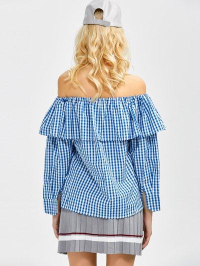 Gingham Check Off The Shoulder Blouse - BLUE S Mobile