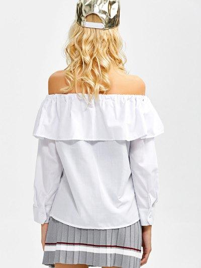 Frilled Off The Shoulder Blouse - WHITE L Mobile