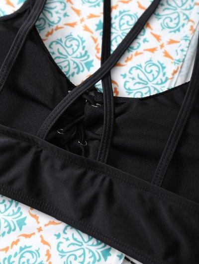 Strappy Lace-Up Bikini Set - BLACK L Mobile
