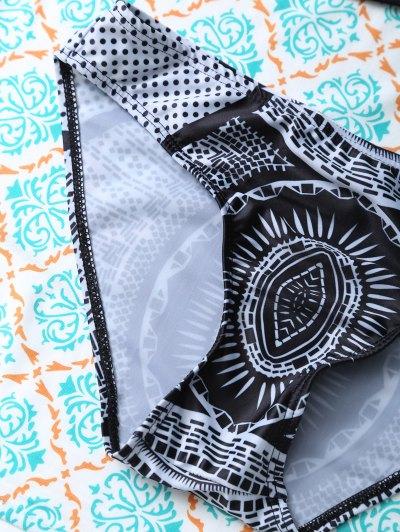 Strappy Printed Cut Out Bikini Set - BLACK L Mobile