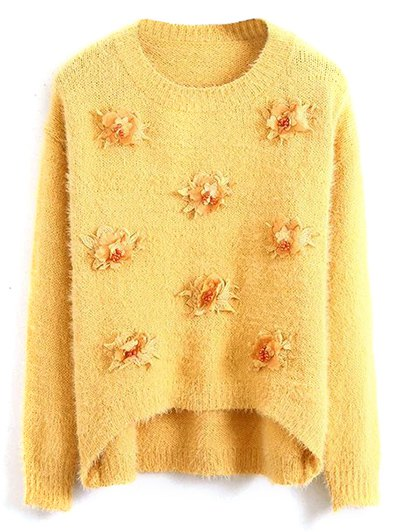 Floral Applique Fluffy Sweater - YELLOW ONE SIZE Mobile