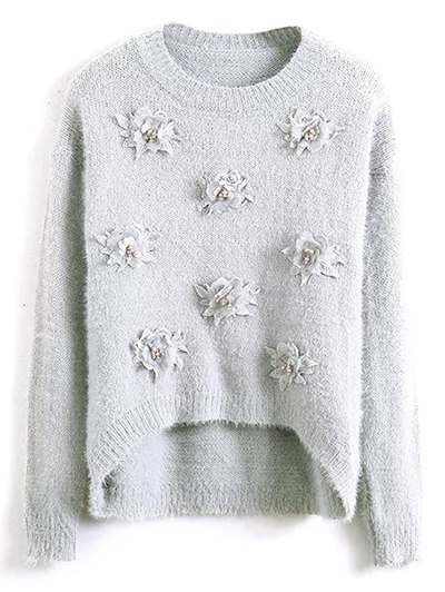 Floral Applique Fluffy Sweater - GRAY ONE SIZE Mobile
