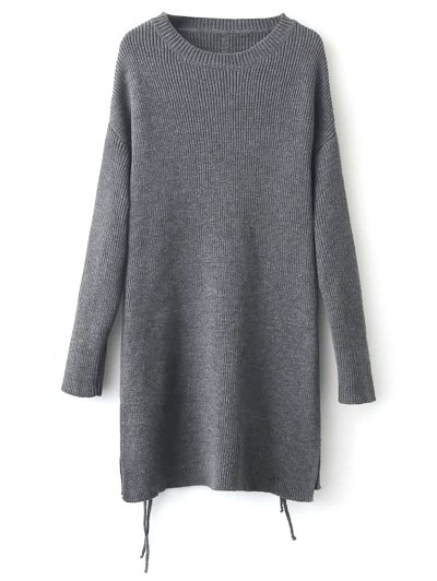 Longline Side Slit Sweater - GRAY ONE SIZE Mobile