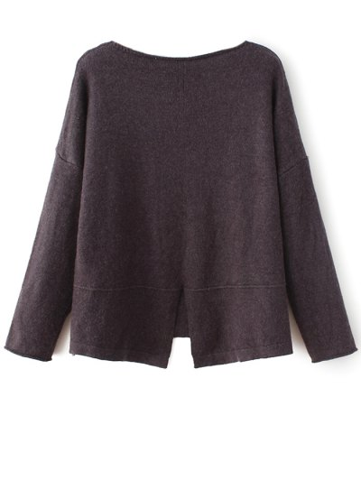 Slit V Neck Sweater - COFFEE ONE SIZE Mobile