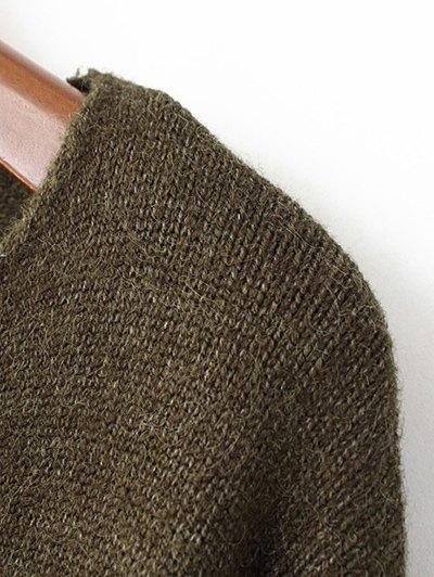 Slit V Neck Sweater - ARMY GREEN ONE SIZE Mobile