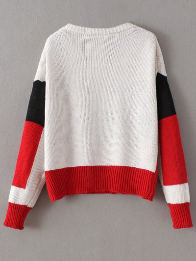 Crew Neck Color Block Chunky Sweater - RED ONE SIZE Mobile