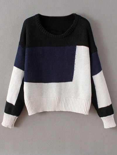 Crew Neck Color Block Chunky Sweater - BLUE ONE SIZE Mobile