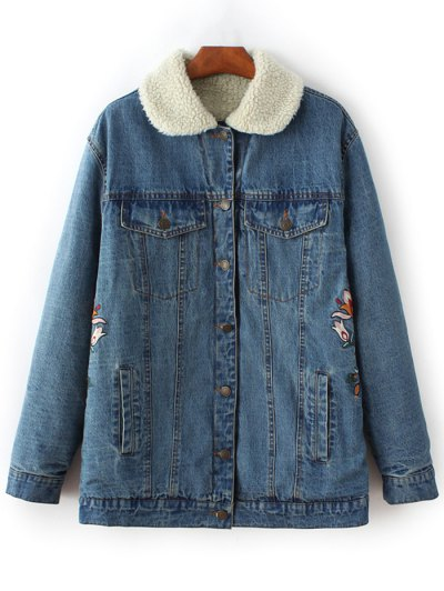 Lamb Wool Embroidered Denim Coat - BLUE L Mobile