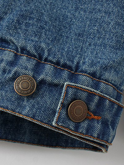 Lamb Wool Embroidered Denim Coat - BLUE S Mobile