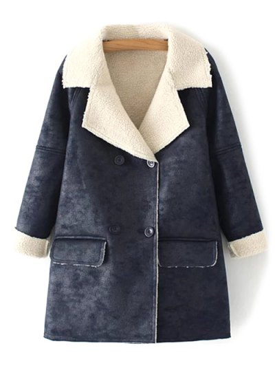 Suede Faux Shearling Peacoat - DEEP GRAY M Mobile