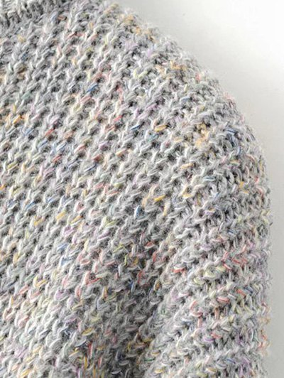 High Low Turtle Neck Heathered Jumper - GRAY ONE SIZE Mobile