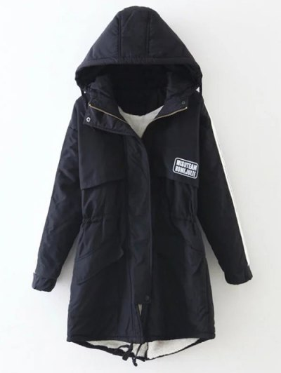 Drawstring Zip-Up Hooded Puffer Coat - BLACK M Mobile