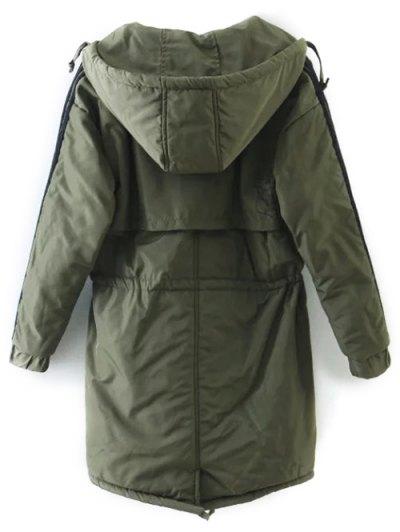 Drawstring Zip-Up Hooded Puffer Coat - GREEN XL Mobile