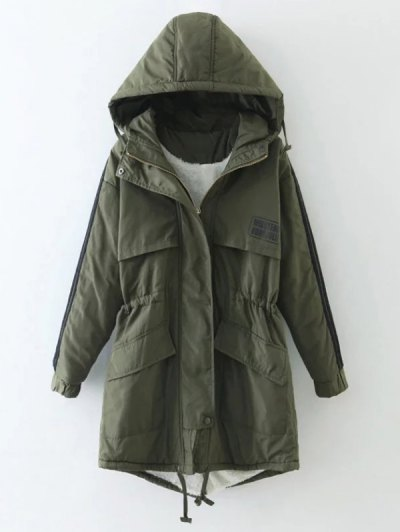 Drawstring Zip-Up Hooded Puffer Coat - GREEN M Mobile