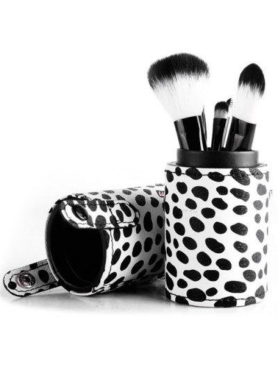 8 Pcs Daily Cow Print Makeup Brushes Kit - WHITE  Mobile