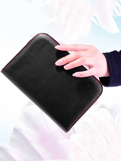 Faux Leather Makeup Storage Bag Cosmetic Bag - BLACK  Mobile