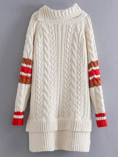 Contrast Trim Cable Knit Sweater - OFF-WHITE ONE SIZE Mobile