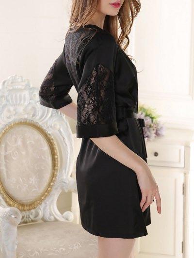 Sleep Lace Spliced Wrap Robe - BLACK ONE SIZE Mobile