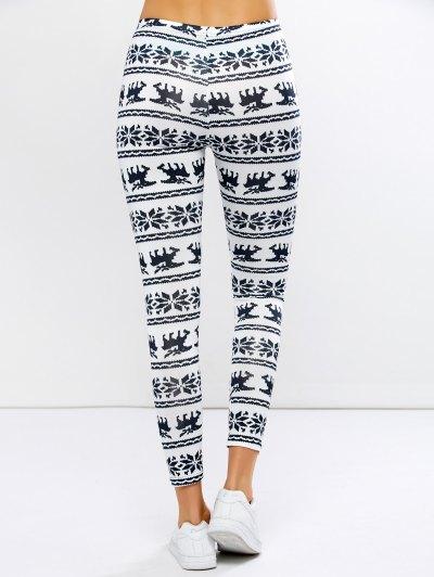 Christmas Elk Graphic Leggings - WHITE XL Mobile