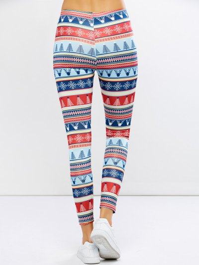 Stretchy Christmas Ornate Print Leggings - COLORMIX XL Mobile