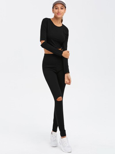 Crop Top and Hollow Out  Pants Twinset - BLACK XL Mobile