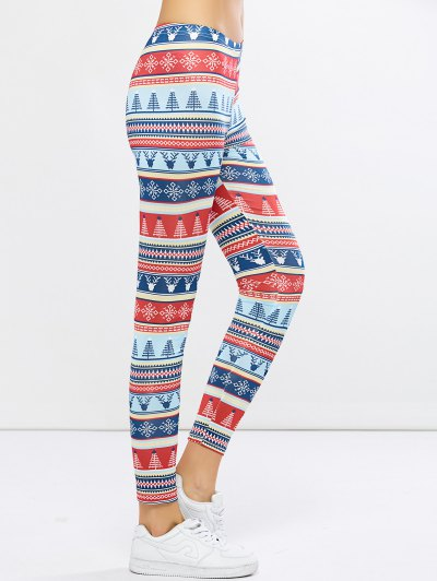 Stretchy Christmas Ornate Print Leggings - COLORMIX L Mobile