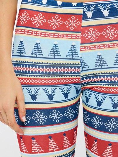 Stretchy Christmas Ornate Print Leggings - COLORMIX M Mobile