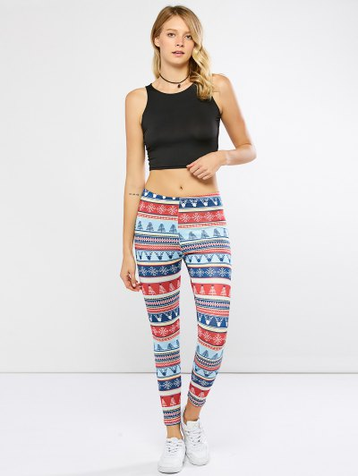 Stretchy Christmas Ornate Print Leggings - COLORMIX M Mobile