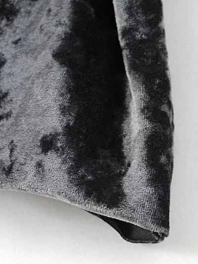Velvet Self Tie Ruffles Top - GRAY S Mobile