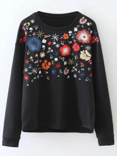 Tiny Flower Embroidered Sweatshirt - BLACK L Mobile