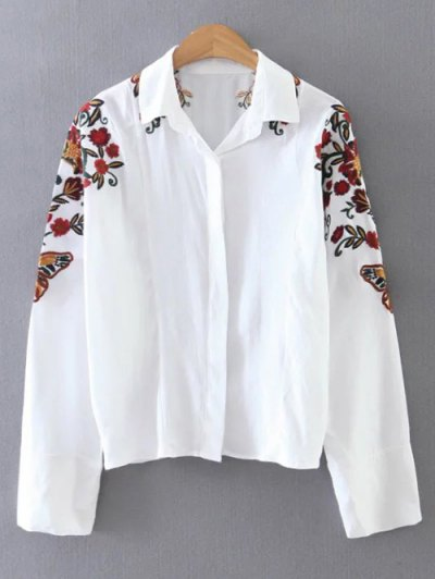 Cropped Flower Embroidered Shirt - WHITE S Mobile