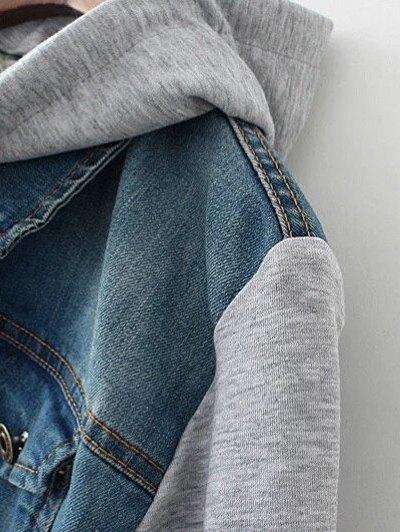 Hooded Denim Panel Jacket - DENIM BLUE S Mobile