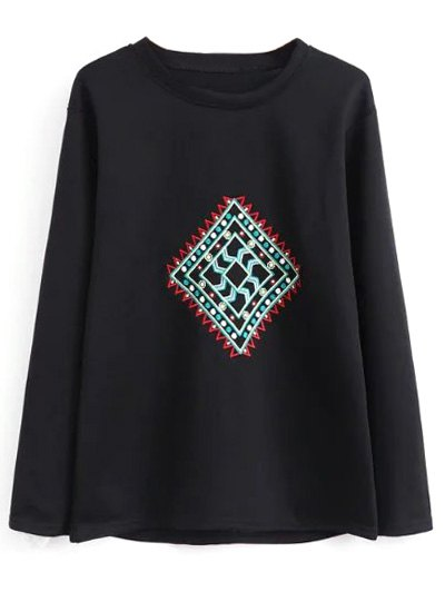 Geometric Embroidered Sweatshirt - BLACK L Mobile