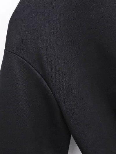 Geometric Embroidered Sweatshirt - BLACK S Mobile