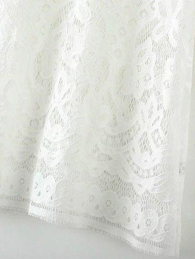 V Neck Bell Sleeve Lace Dress - WHITE M Mobile