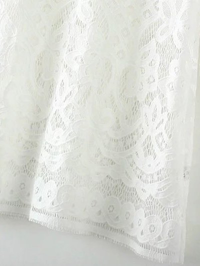 V Neck Bell Sleeve Lace Dress - WHITE S Mobile