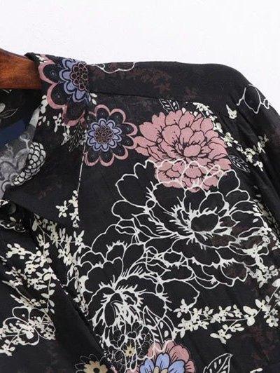 High Low Retro Floral Shirt Dress - BLACK L Mobile