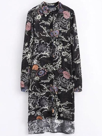 High Low Retro Floral Shirt Dress - BLACK S Mobile